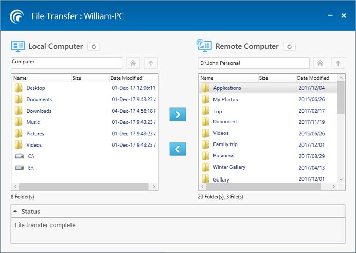 File Transfer - RemotePC for Windows