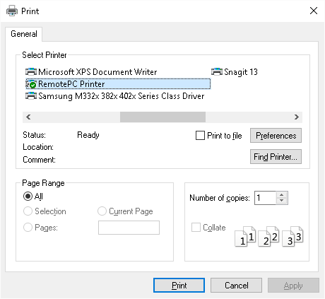 Remote Printing - RemotePC for Windows